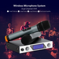 ARCHEER Dual Channel VHF Wireless Microphone for Karaoke and More.