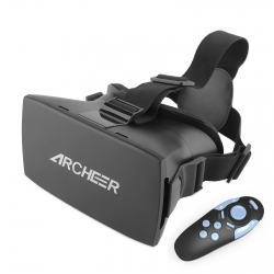Virtual Reality 3D Glasses Archeer VR Headset Helmet with Bluetooth Controller Adjustable Head Band Strap for 3D Movies/Games Compatible with iPhone Samsung Moto LG Nexus HTC 4.7-5.5 Inch Smartphones V1